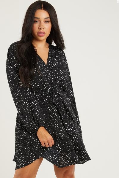 Curve Black Polka Dot Skater Dress